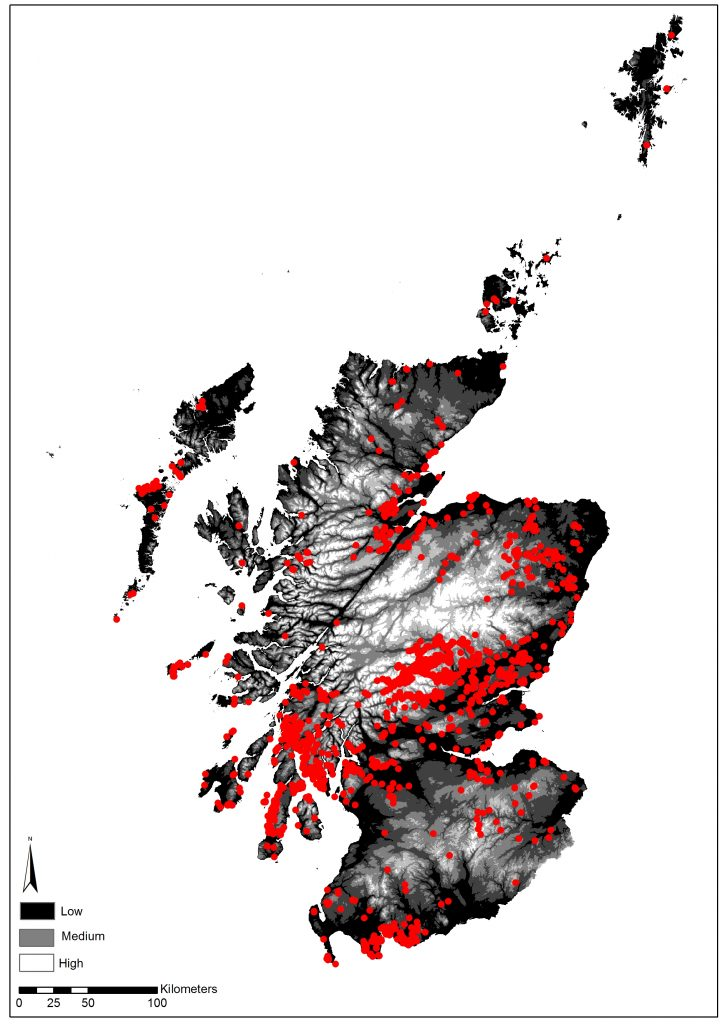 A map showing the distribution of rock art in Scotland