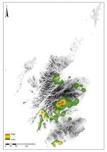 A distribution map showing the density of rock art in Scotland