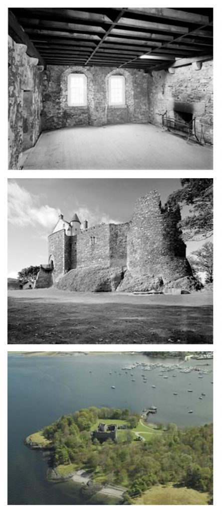 A composite image of 3 photographs of a castle, showing an interior room with wooden roof beams and fireplace, a general exterior view showing a substantial stone built structure with a tower and an aerial view showing the location of the castle on a promontory surrounded by woodland