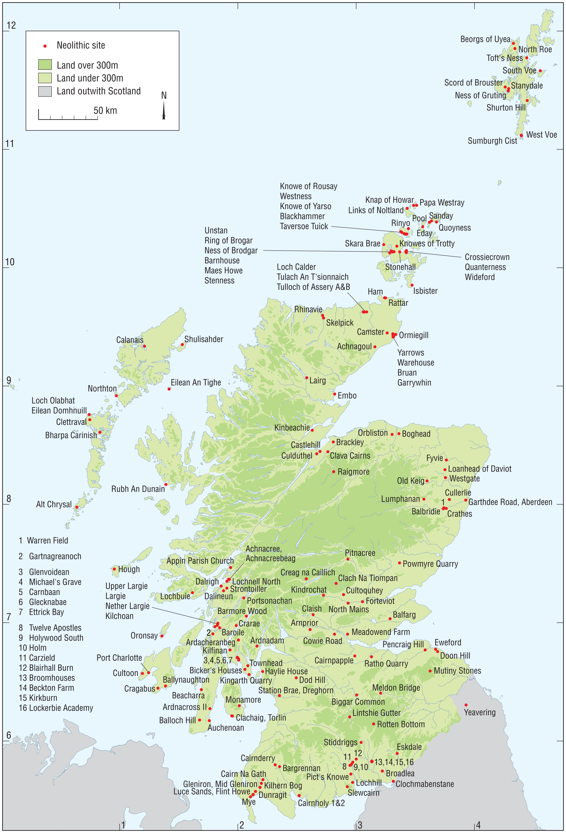 A map of Scotland showing the distribution of Neolithic sites referred to in text